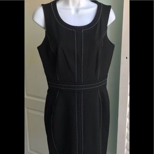 NY & Co Career Dress Black with white stitching